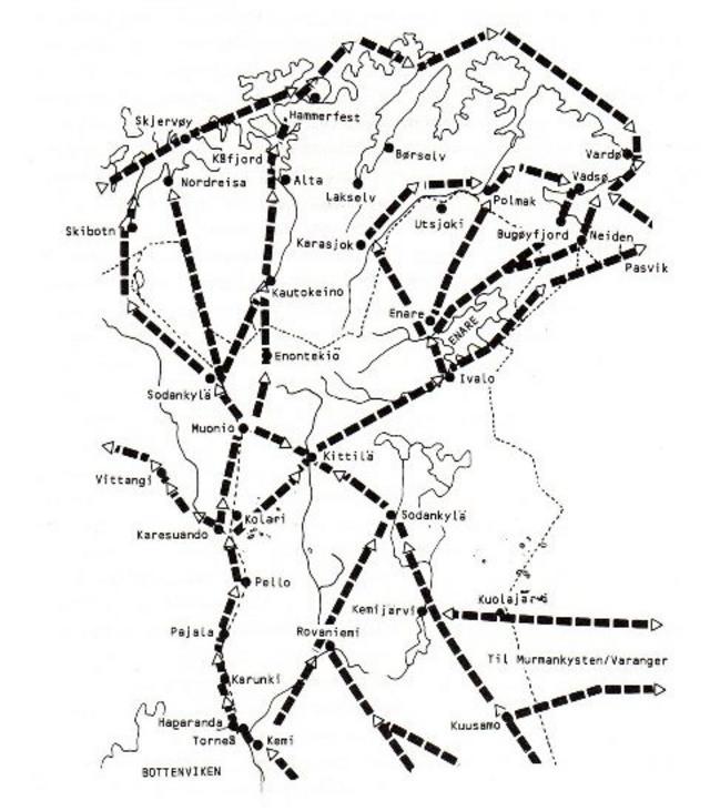 kart over kysten i troms